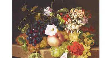 Adelheid Dietrich Çiçekli ve Meyveli Natürmort