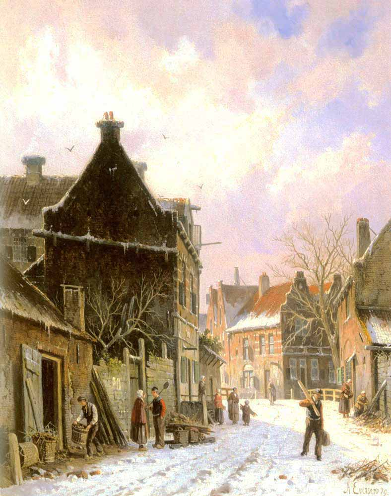 Adrianus Eversen Kışta Sokak Manzarası