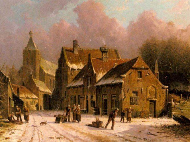 Adrianus Eversen Köyde Kış tablosu