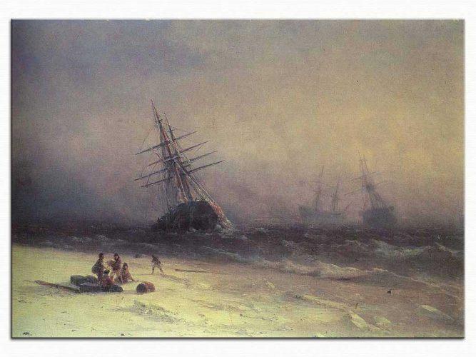 Ivan Konstantinovich Aivazovsky Karadenizde Gemi Kazası