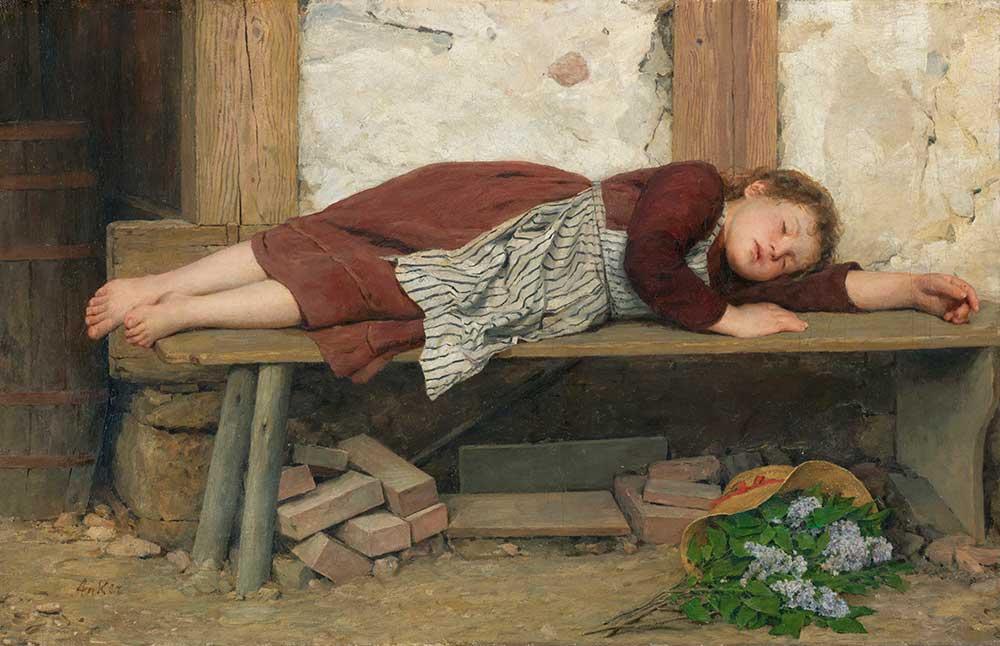 Albert Anker Bankta Uyuyan Kız
