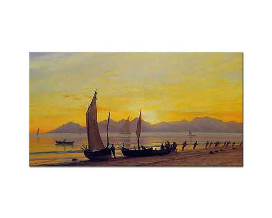 Albert Bierstadt Günbatımında Kayıklar