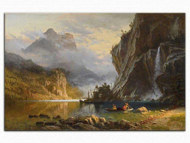 Albert Bierstadt Kızılderililerin Mızrakla Balık Avı
