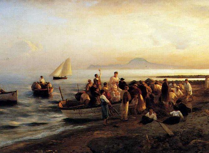 Albert Flamm Kıyıda insanlar tablosu