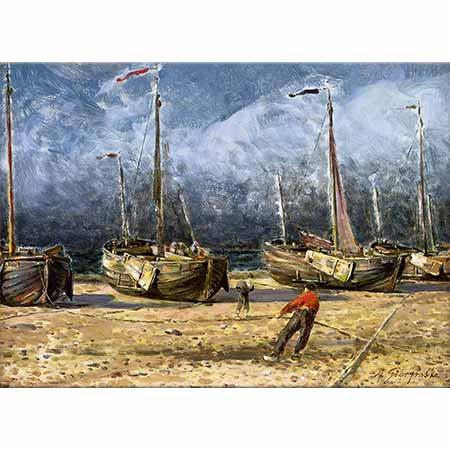 Aleksander Gierymski Kıyıda Balıkçı Tekneleri