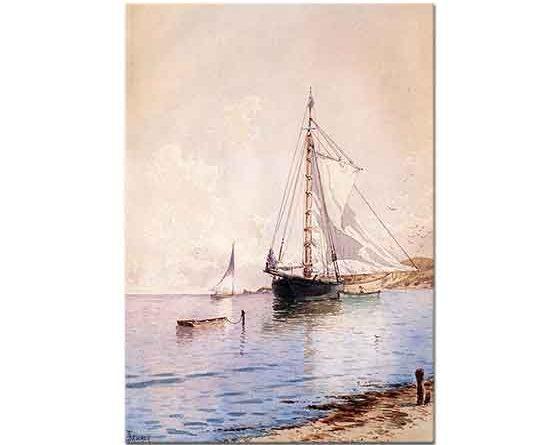 Alfred Thompson Bricher Yelkenleri Kurutma ve Çapa