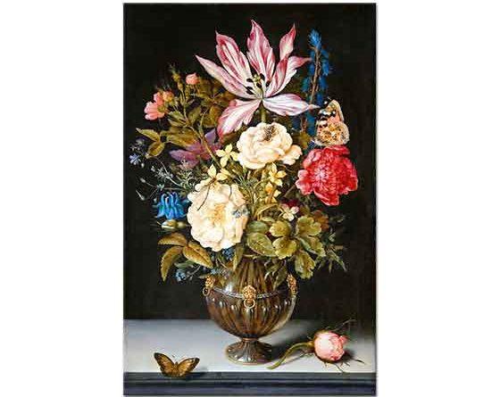 Ambrosius Bosschaert the Elder Çiçekler ve Kelebekler