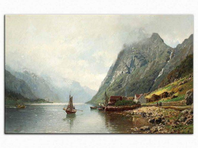 Anders Monsen Askevold Yelkenli ve Fiyort Manzarası
