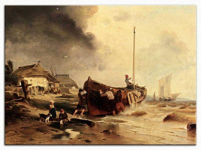 Andreas Achenbach Kıyıda Balıkçı Teknesi