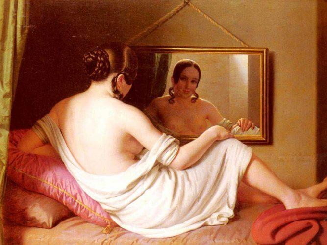 Anton Einsle Ayna önünde Kadın