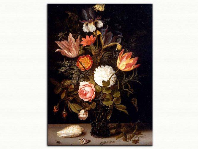 Balthasar van der Ast Çiçekli Böcekli Kabuklu Natürmort