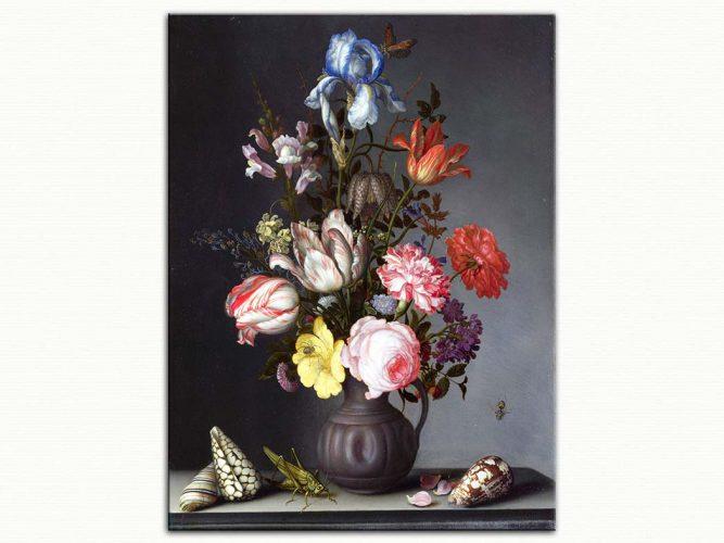 Balthasar van der Ast Vazoda Çiçekler böcek ve istiridye kabuğu