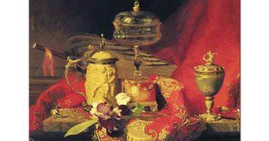 Blaise Alexandre Desgoffe Kırmızı Goblen Kumaş üzerindeki Kaseli Natürmort