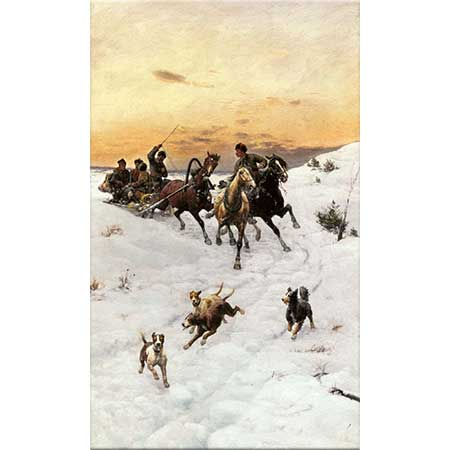 Bohdan von Kleczynski Kış Manzarasında Atlılar