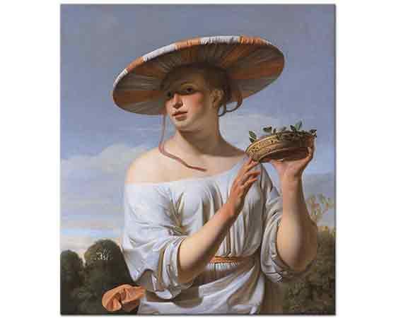 Caesar van Everdingen Büyük şapkalı Kız