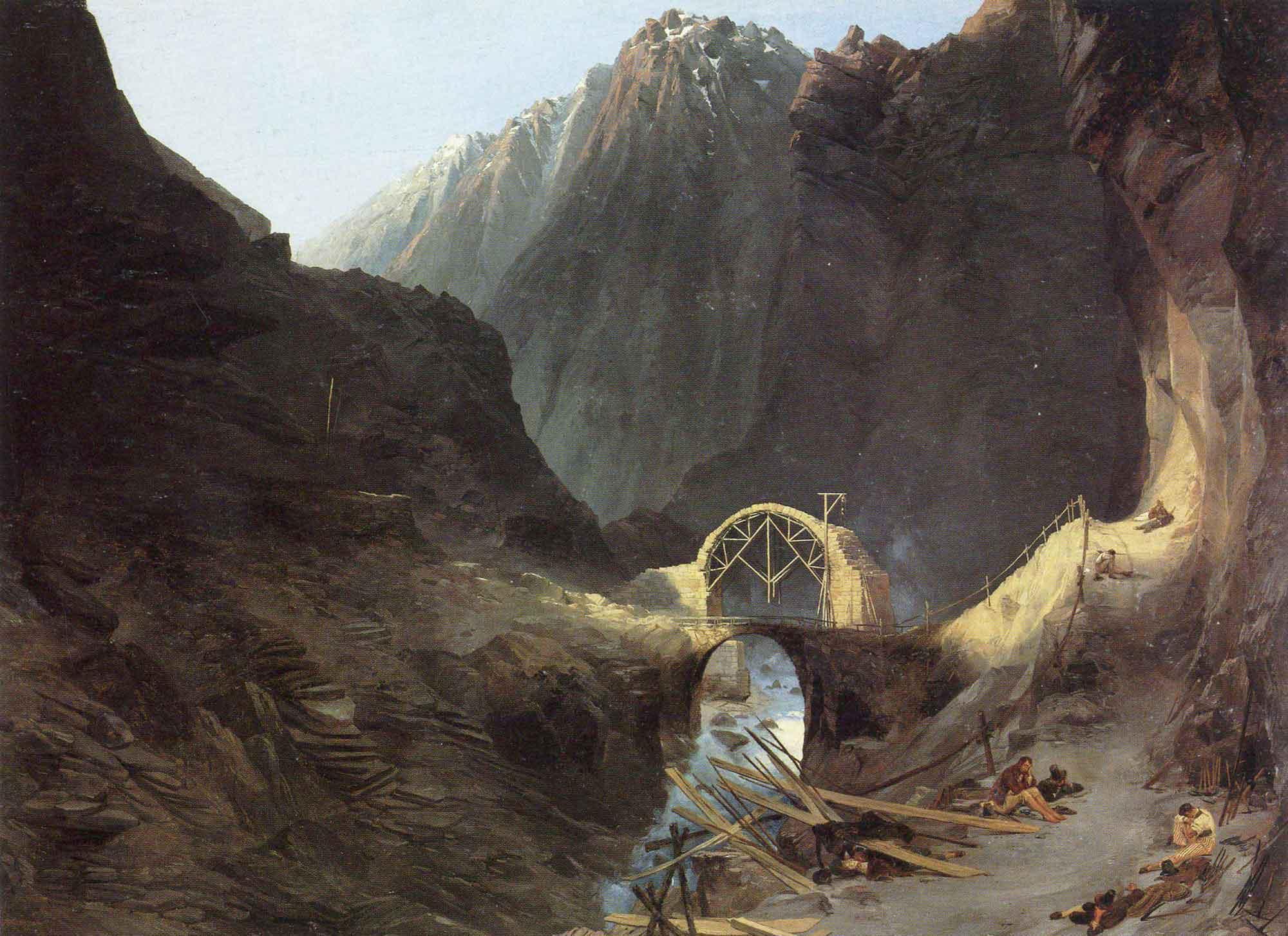 Karl Eduard Ferdinand Blechen Şeytanköprüsü inşaatı