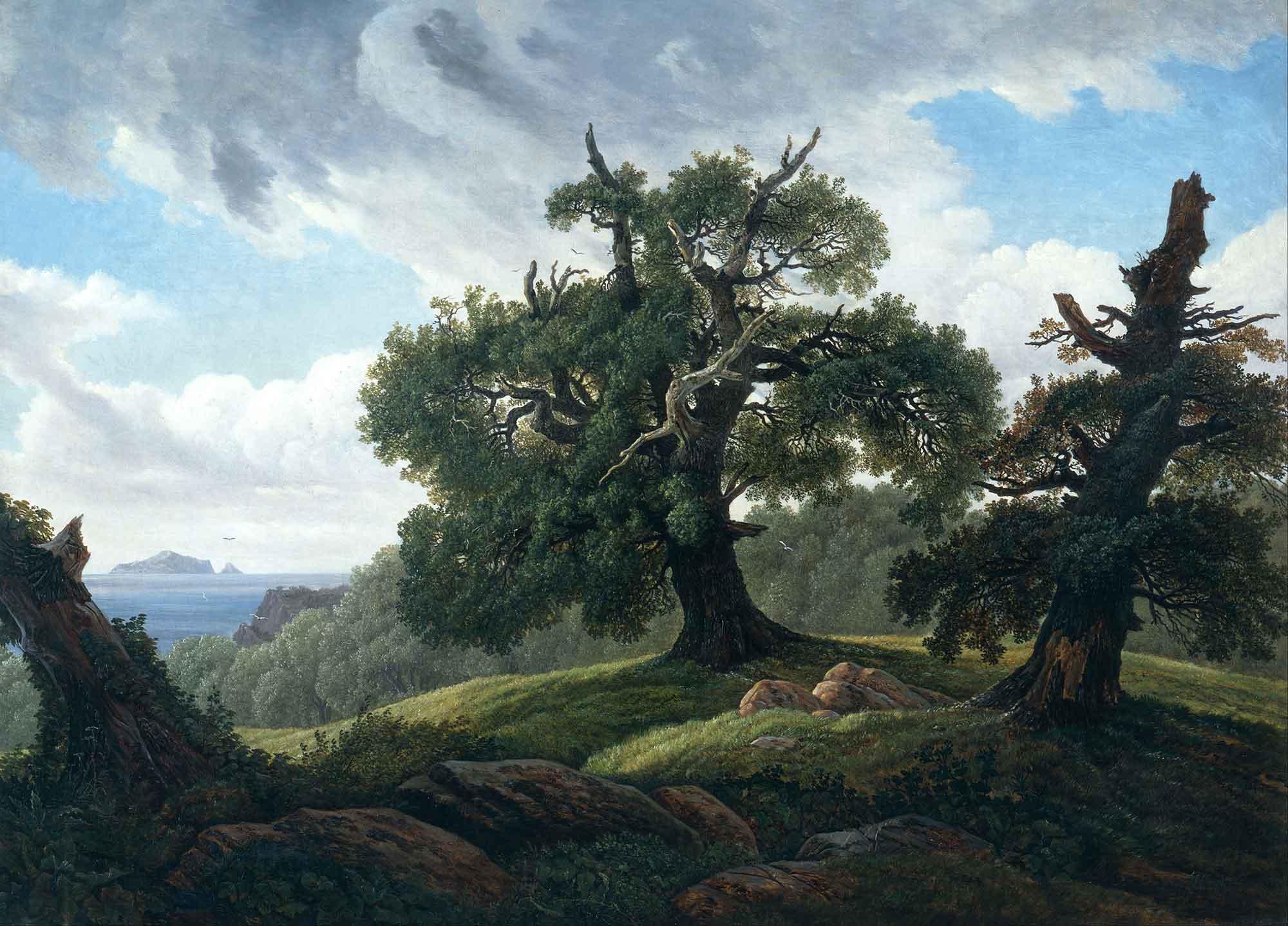 Carl Gustav Carus Deniz Kıyısında Meşe Ağaçları