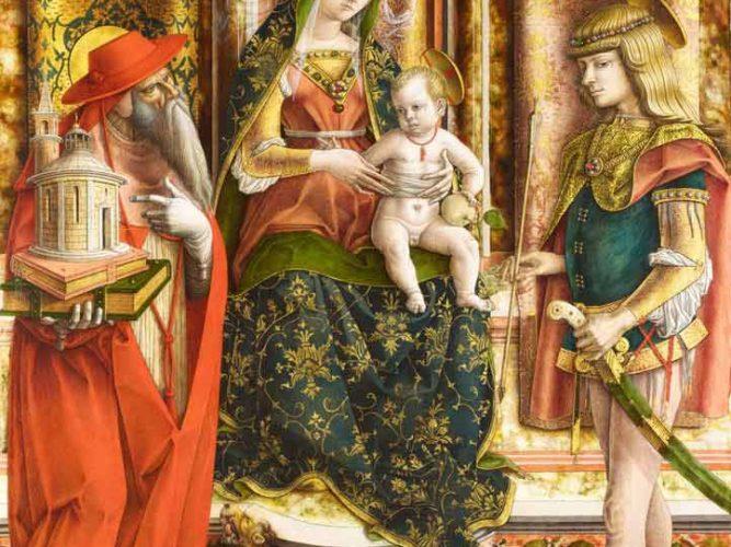 Carlo Crivelli Meryem ve St Hieronymus ve St Sebastian