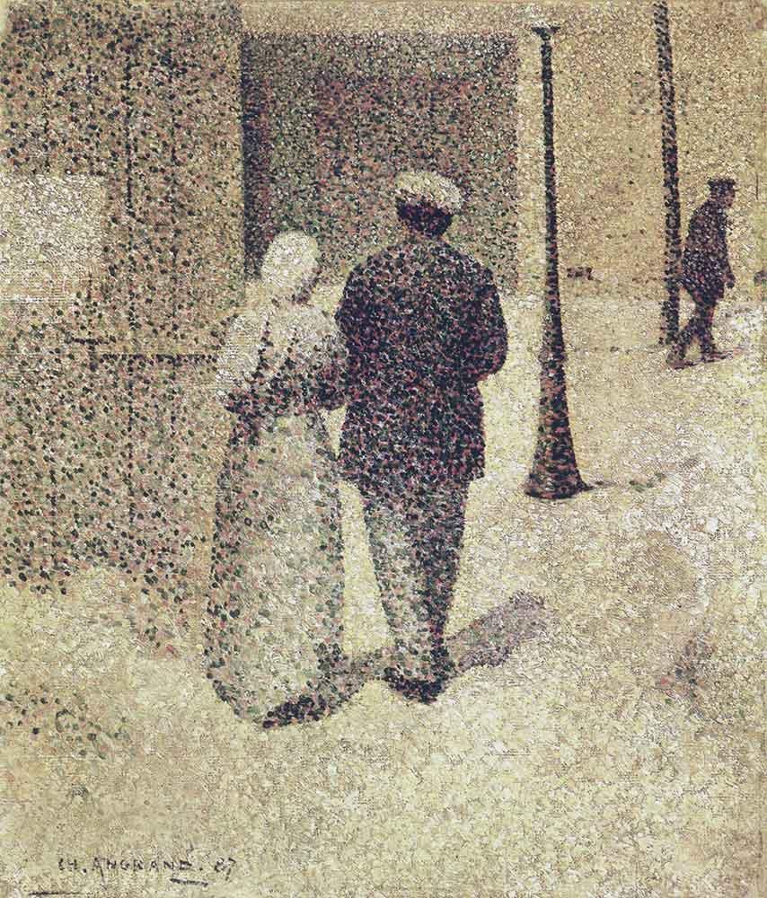 Charles Angrand Sokakta Adam ve Kadın