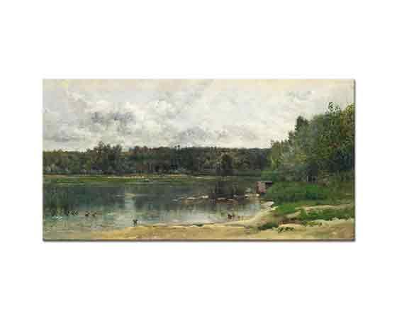 Charles Francois Daubigny Avec Kıyısında Altı Ördek