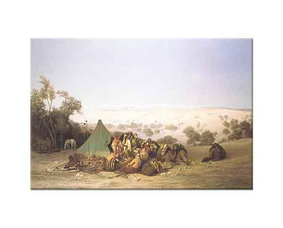 Charles Theodore Frere Kudüs Zeytinlik Tepede Dinlenen Kervan