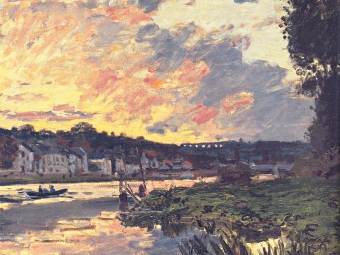 Claude Monet Bougival'de Sen Kıyısı ve Akşam