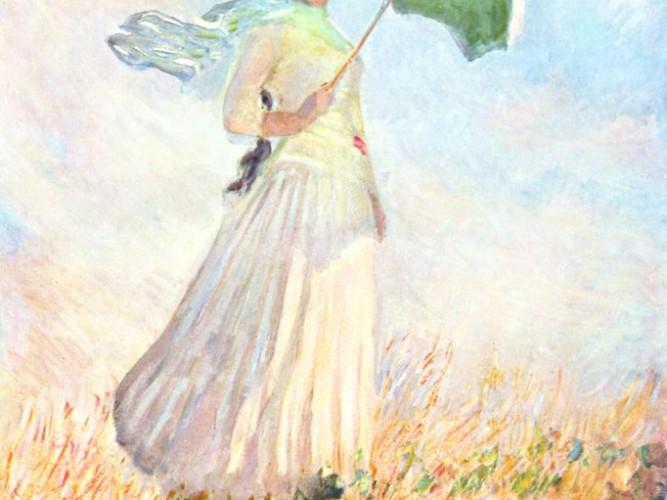 Claude Monet Şemsiyeli Kadın III