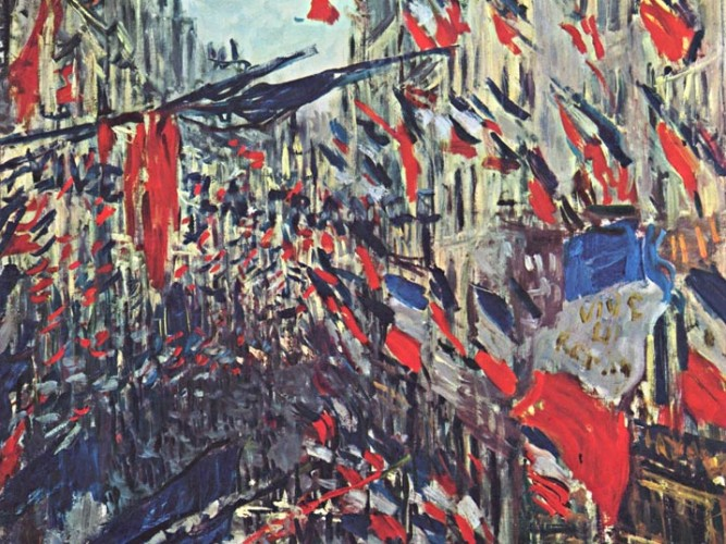 Claude Monet Montergueil Bulvarında Bayraklar