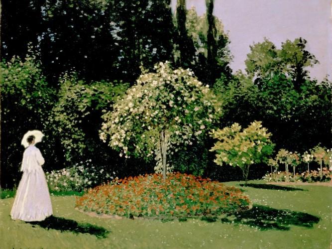Claude Monet Bayan Bayan Lecadre Bahçede
