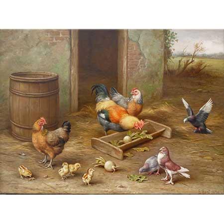 Edgar Hunt Tavuklar Güvercinler ve Kumru