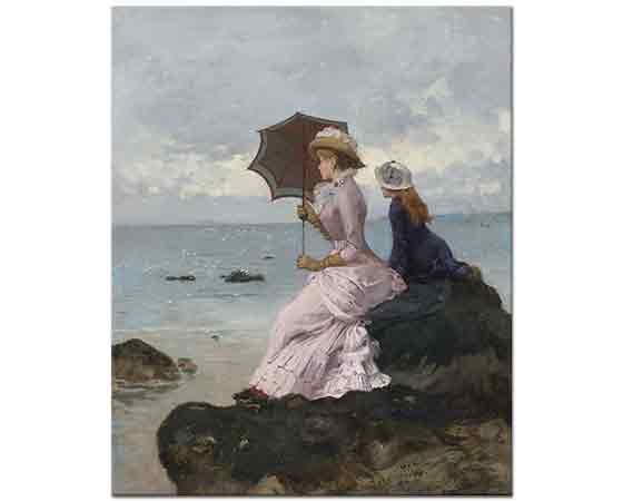 Ernest Ange Duez Sahilde Kaya üzerinde iki Kız