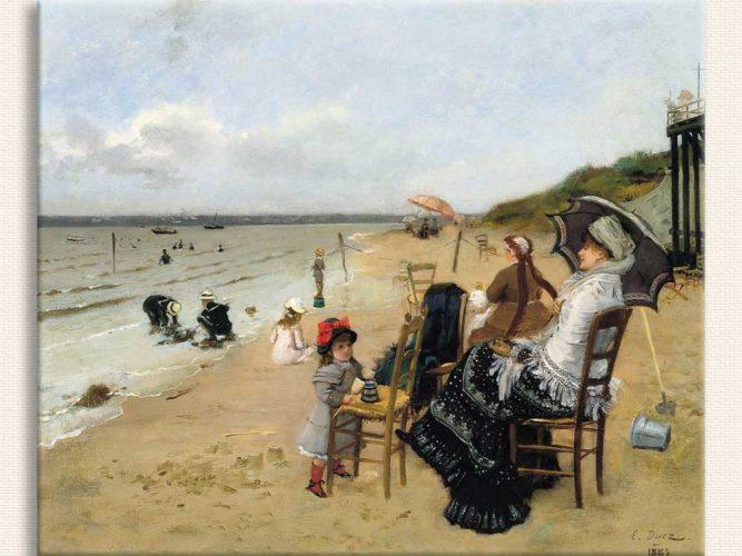 Ernest Ange Duez Sahilde Anne ve Kızları
