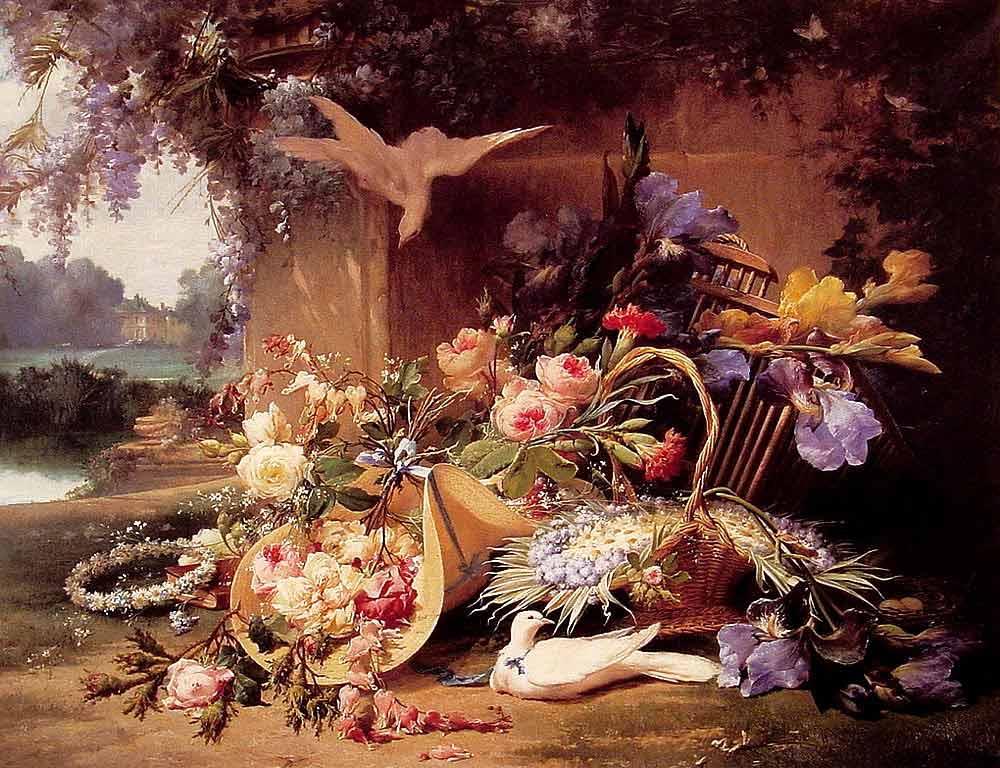 Eugene Bidau Çiçekli Natürmort
