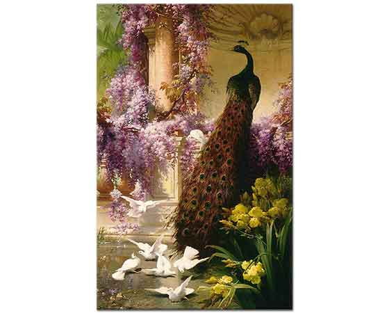 Eugene Bidau Bahçede Tavus Kuşu ve Güvercinler