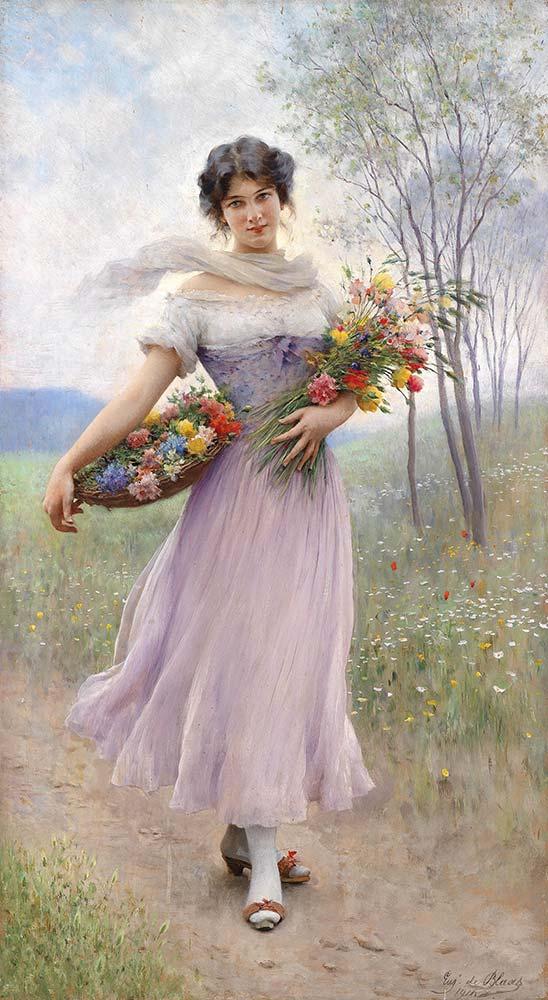 Eugene de Blaas Çiçek Sepetli ve Leylak Rengi Elbiseli Kız