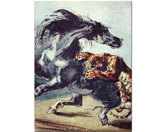 Eugene Delacroix Kaplan Atı Yakalarken