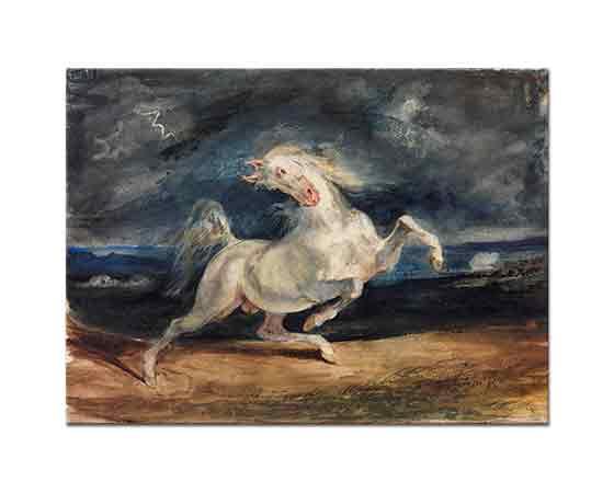 Eugene Delacroix şimşekten ürken At