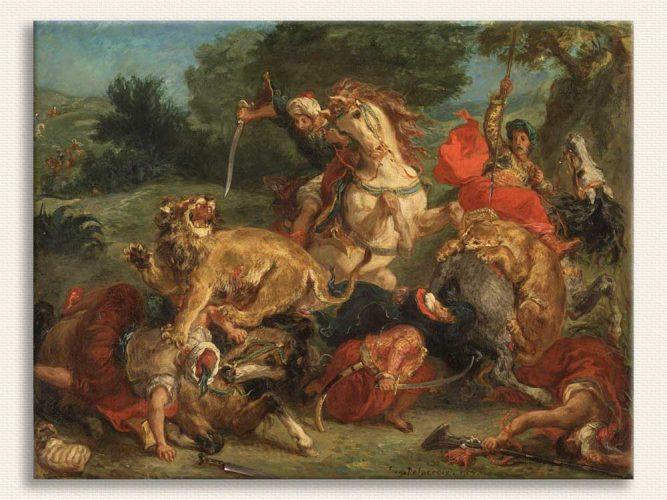 Eugene Delacroix Aslan Avı tablosu