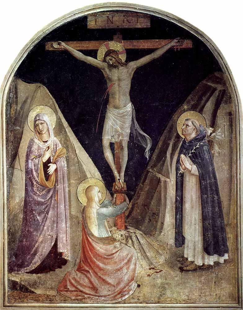 Fra Angelico Çarmıha Geriliş Meryem ve Maria Magdalena