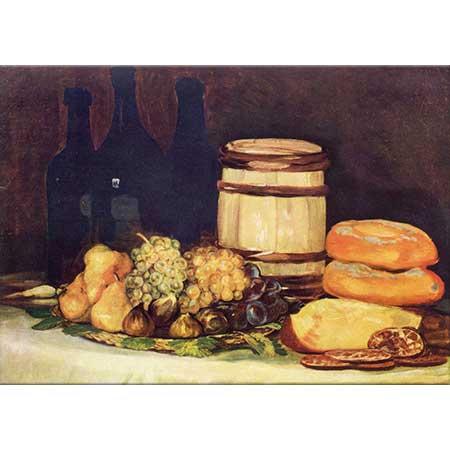 Francisco Goya Meyve Şişe ve Ekmekli Natürmort