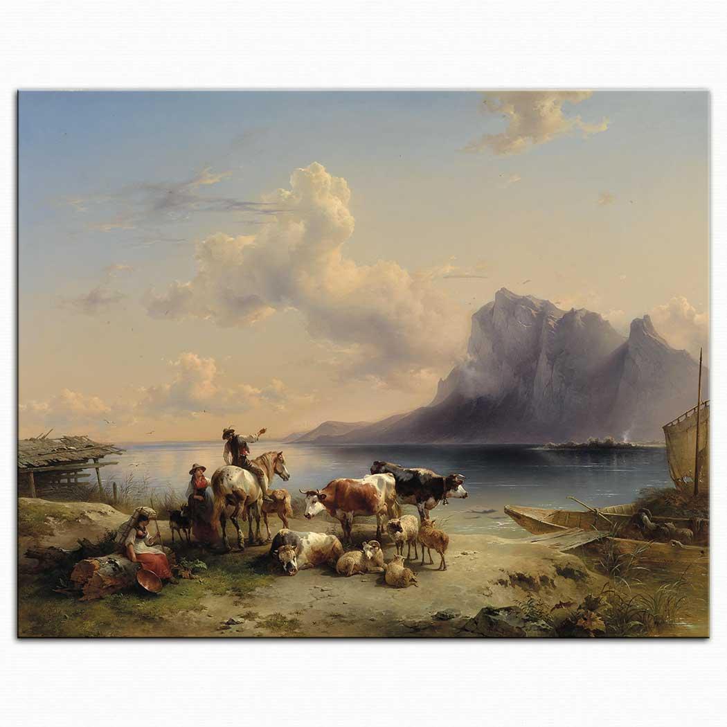 Friedrich Gauermann Attersee Kıyısında Sürü