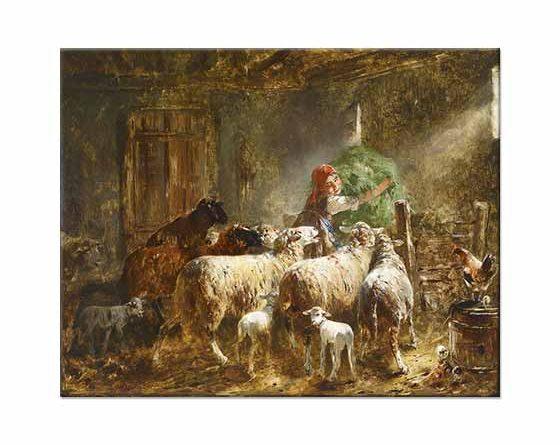 Friedrich Otto Gebler Koyunlara Yem Verirken