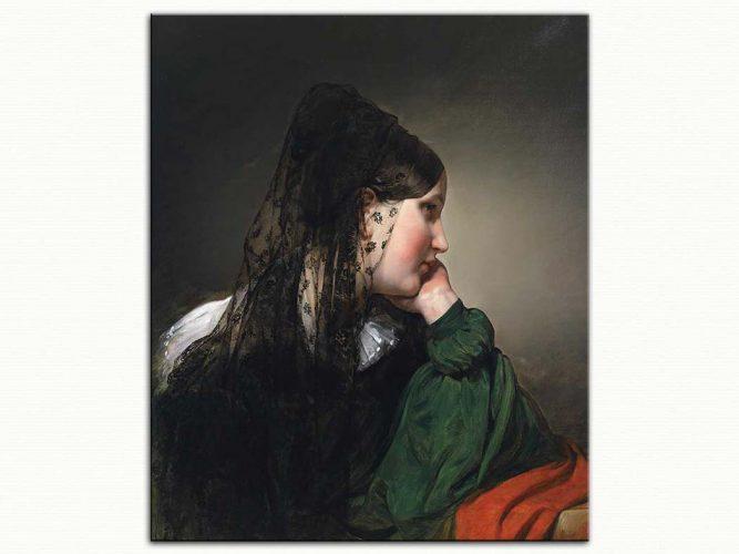 Friedrich von Amerling Siyah Eşarplı Kadın