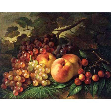 George Henry Hall Şeftaliler Üzümler ve Kirazlar