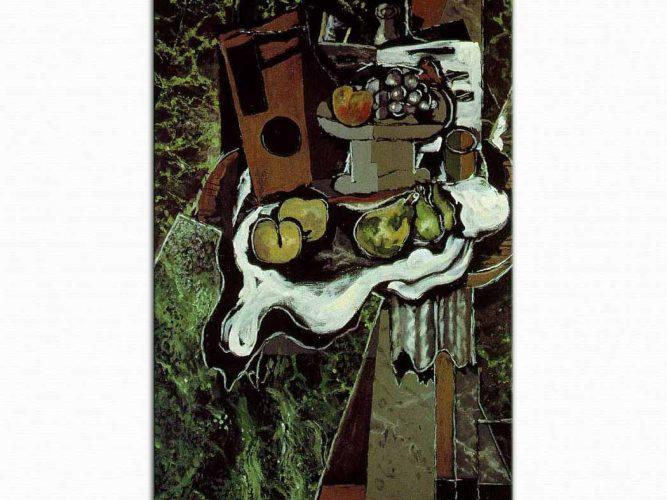 Georges Braque Masa Örtüsü Üzerinde Meyveler ve Meyve Tabağı
