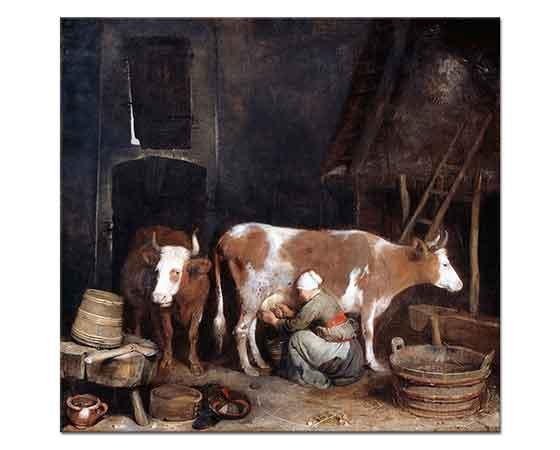 Gerard ter Borch Ahırda Süt Sağımı