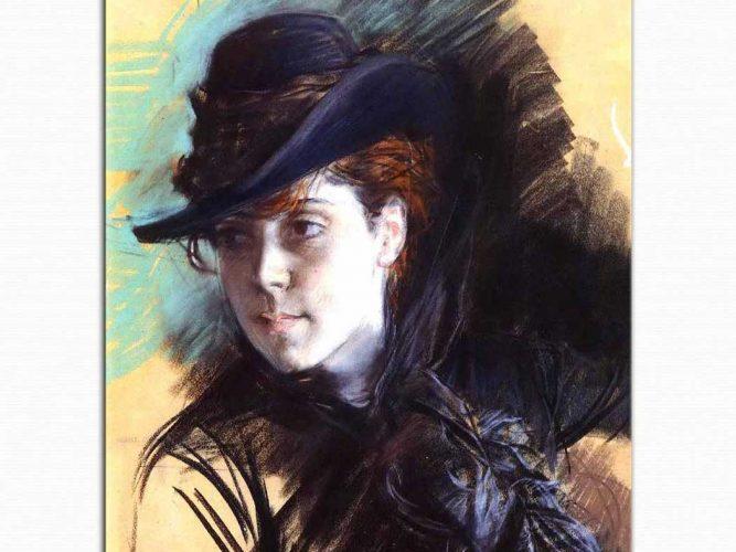 Giovanni Boldini Siyah Şapkalı Kız
