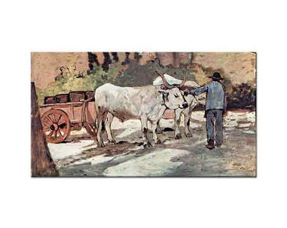Giovanni Fattori öküz arabası ile çiftçi