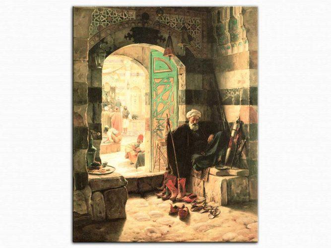 Gustav Bauernfeind Şam da Büyük Caminin Kapısında