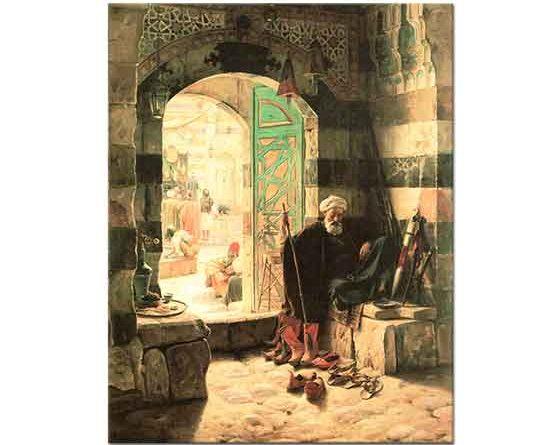 Gustav Bauernfeind Şam'da Büyük Caminin Kapısında